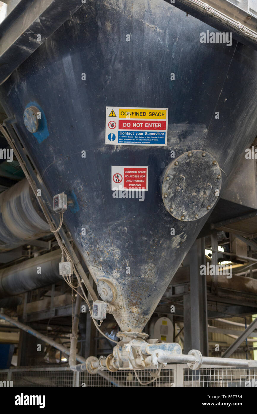 Confined space warning signs on an industrial hopper - Stock Image