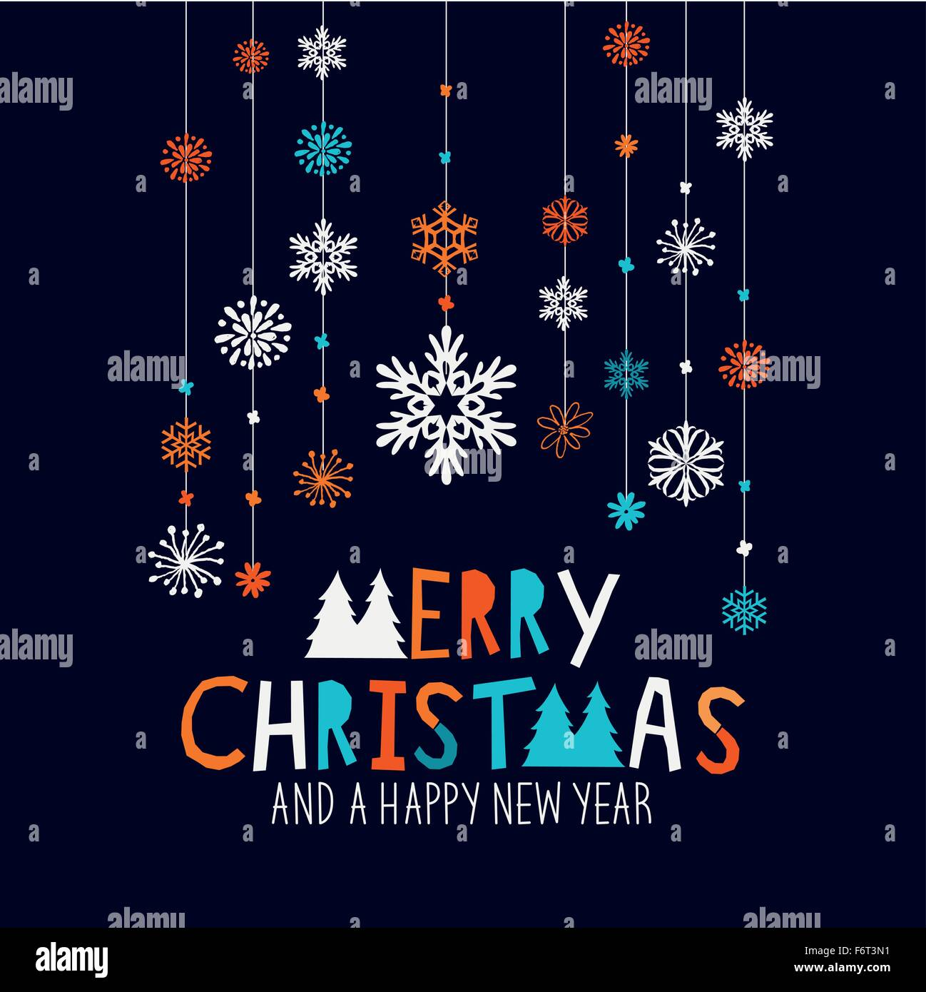 Merry Christmas Decorations. Hanging snowflake decorations and merry christmas sign. Vector illustration. - Stock Image