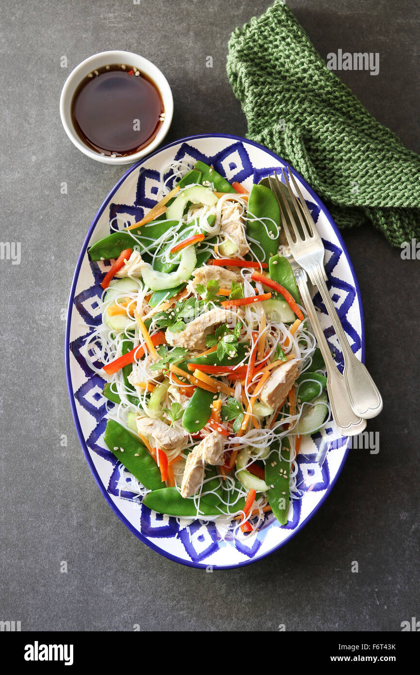 Thai Chicken Salad with Rice Noodles .Top view - Stock Image