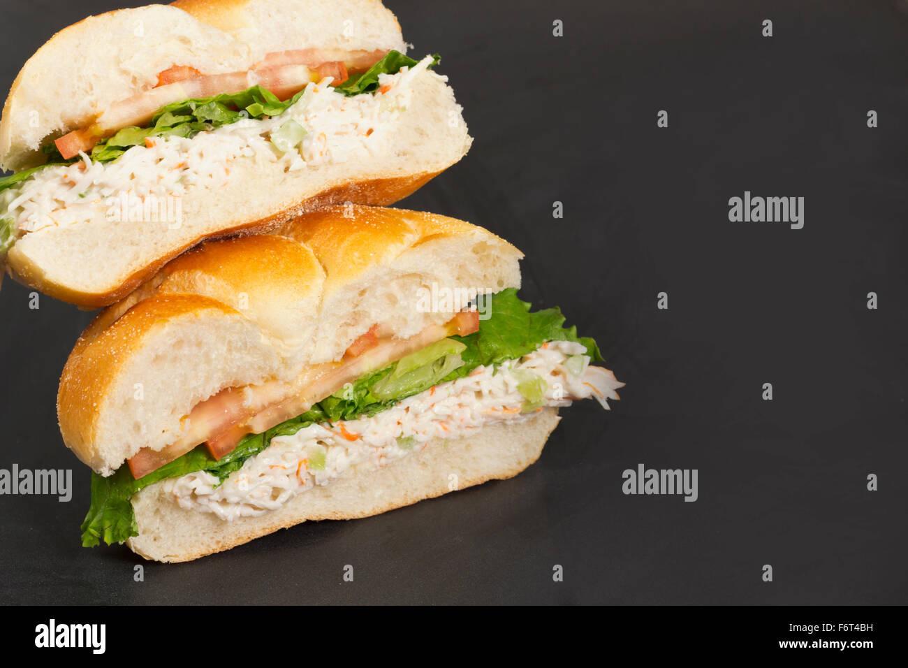 Bound seafood salad sandwich with mayo ...