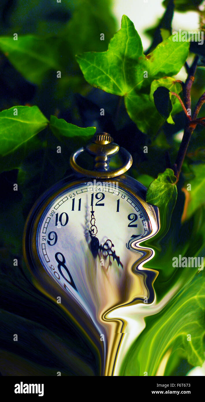 fobwatch,watch,time,distortion,timewarp,ivy leaves ,abstract - Stock Image
