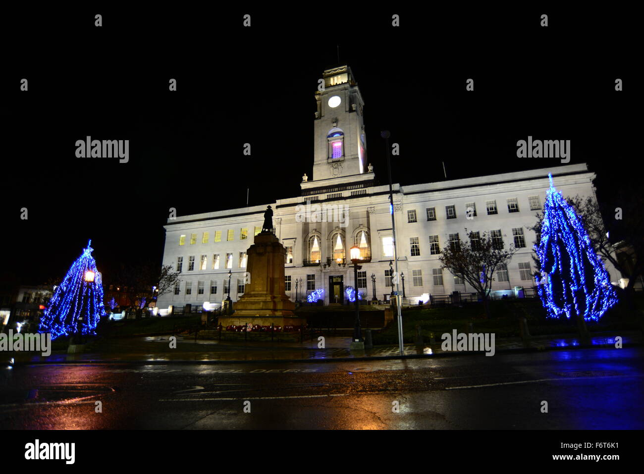 christmas trees outside barnsley town hall stock photo 90271861 alamy