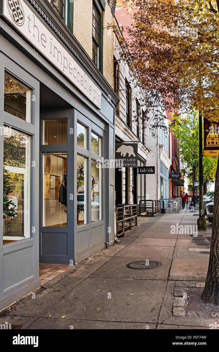 Downtown Athens retail shops, Georgia, USA - Stock Image
