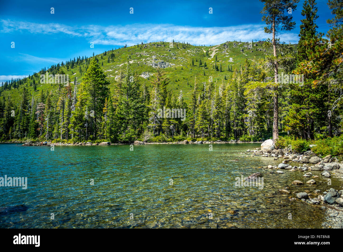 Castle Lake is a glacial lake located in northern California along the eastern edge of the Klamath Mountains, in - Stock Image