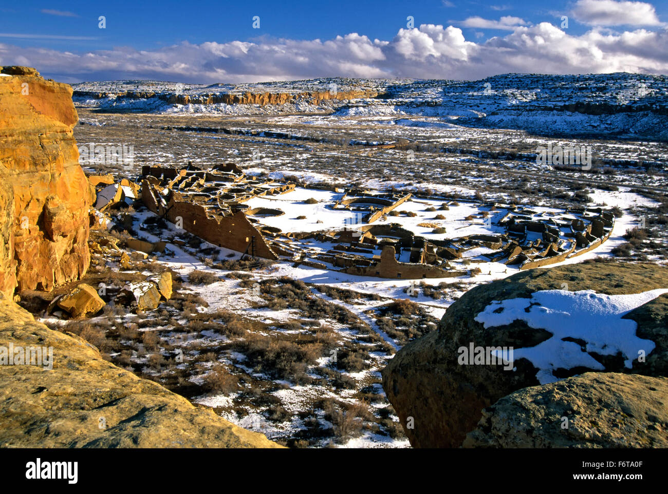 Aerial view of Pueblo Bonito under snow, Chaco Culture National Historic Park, New Mexico USA - Stock Image