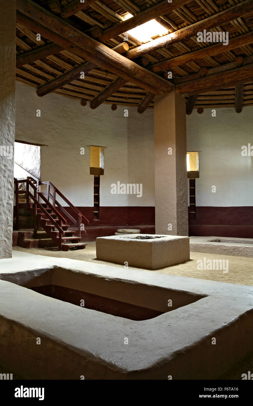 Interior of Great Kiva (reconstructed), Aztec Ruins National Monument, Aztec, New Mexico USA - Stock Image