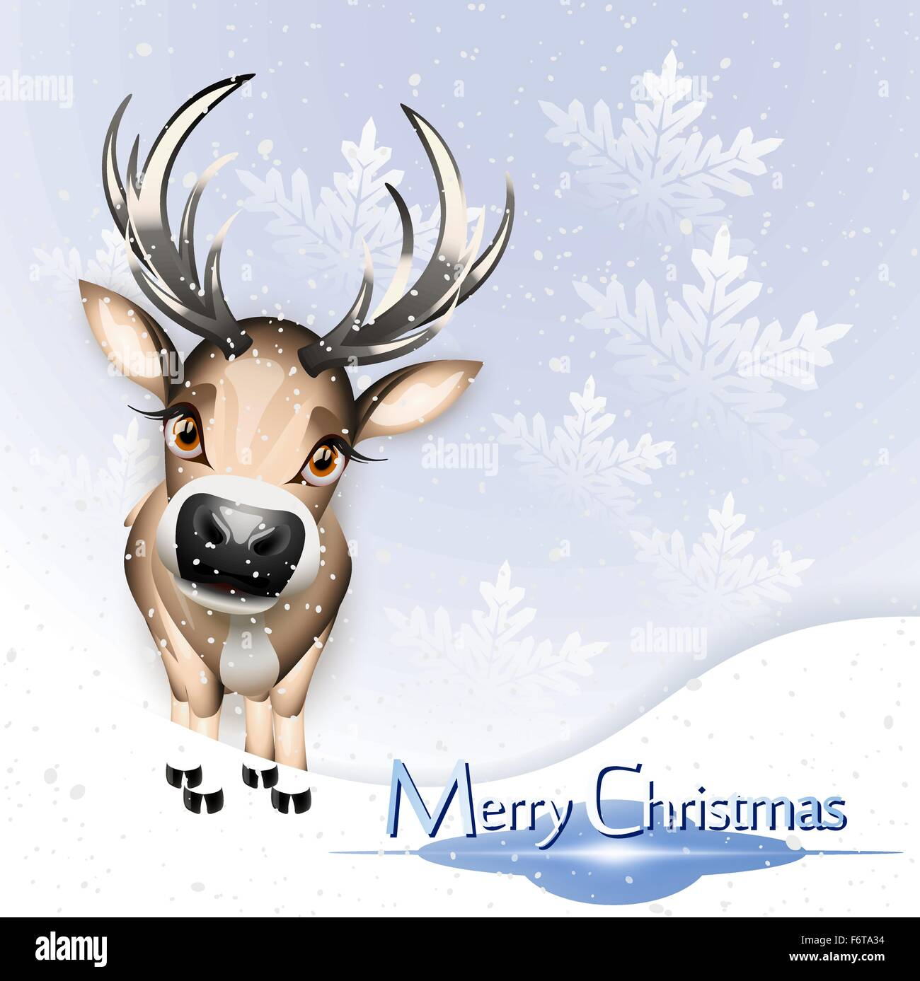 Christmas blue card with cute reindeer over snow - Stock Image