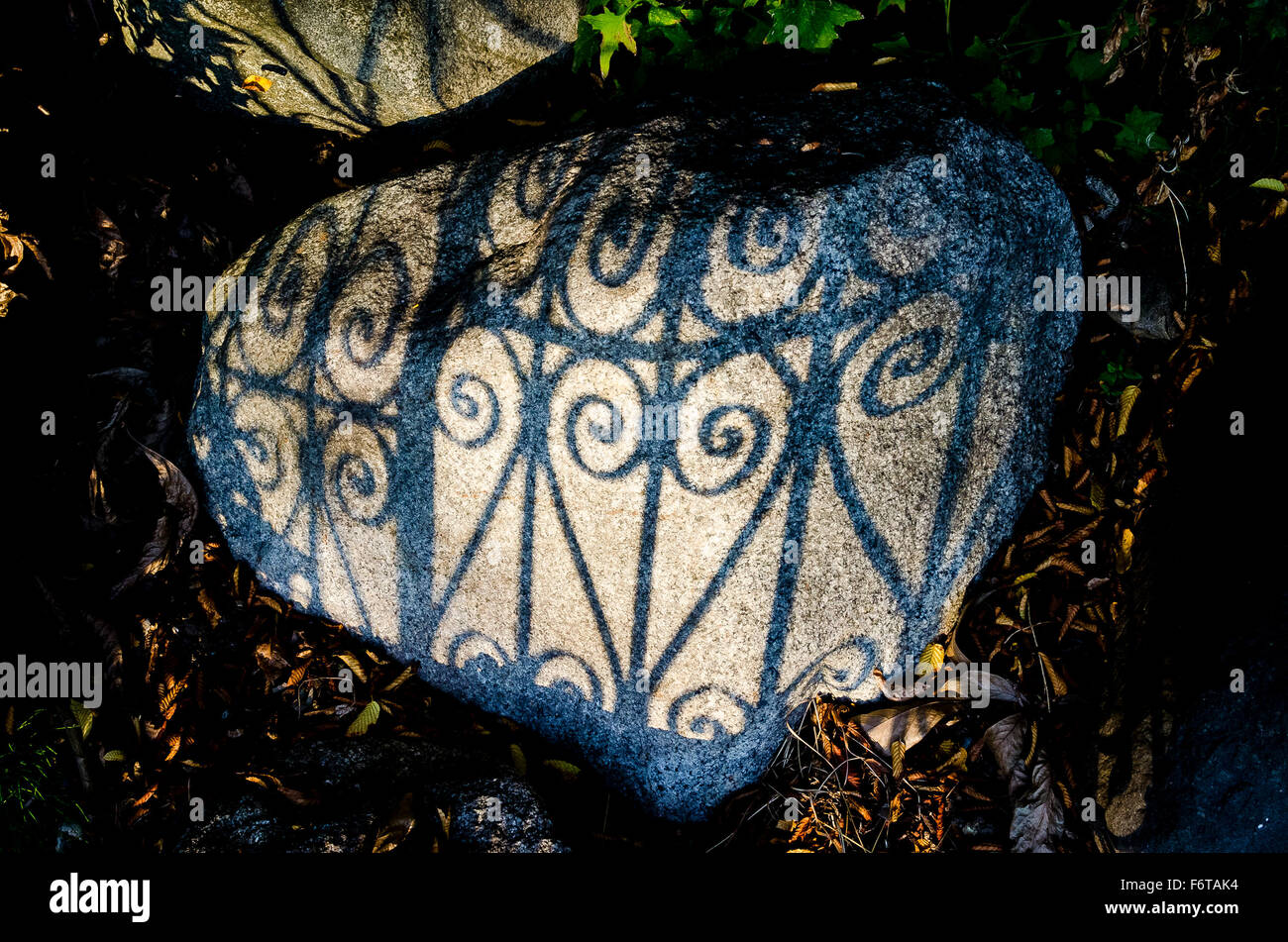 Shadow of wrought iron fence on rock - Stock Image