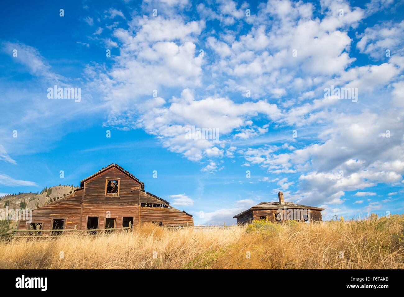 Dilapidated, Haynes Ranch buildings near Osoyoos, British Columbia, Canada - Stock Image