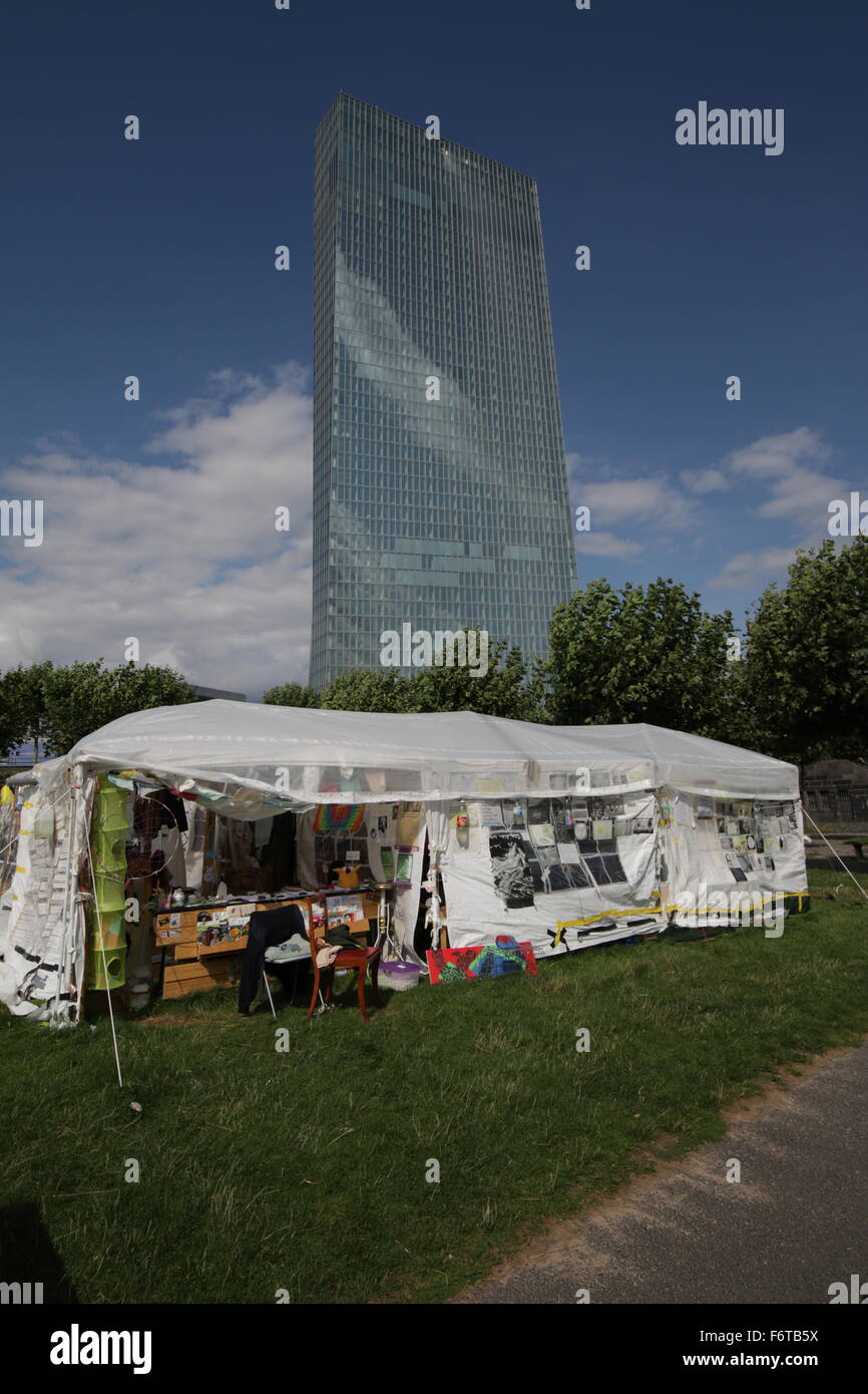 New European Central Bank Building Frankfurt Protestor tent in foreground - Stock Image