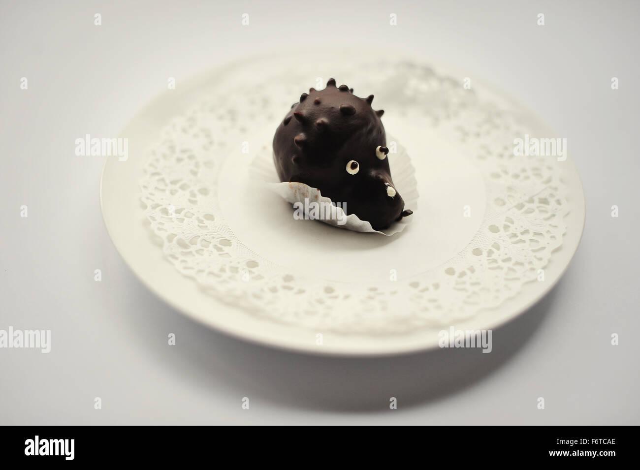sweet cakes hedgehog food isolated on white Stock Photo