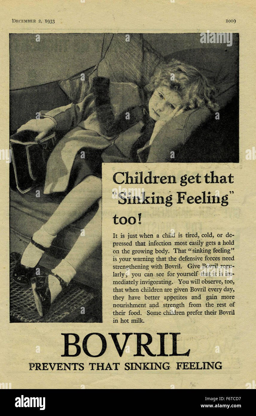 Bovril 1933 Advert prevents that sinking feeling - Stock Image
