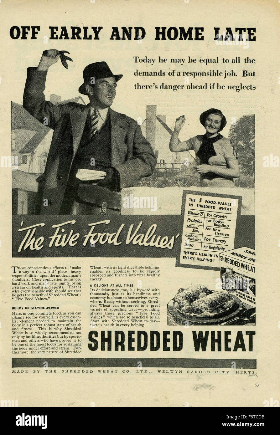 Vintage Shredded Wheat 1938 Advert Off early and home late - Stock Image