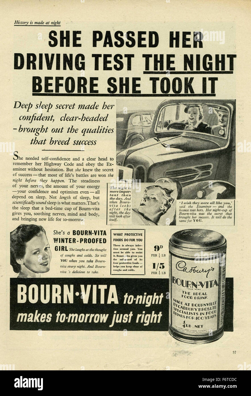 Bournvita 1938 Advert She passed her Driving Test the night before she took it - Stock Image