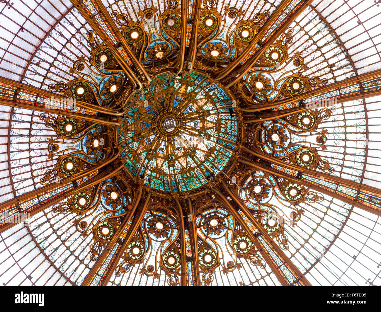 Center Medallion detail of the skylight at Galleries Lafayette. This huge glass ceiling is a focal point of the - Stock Image