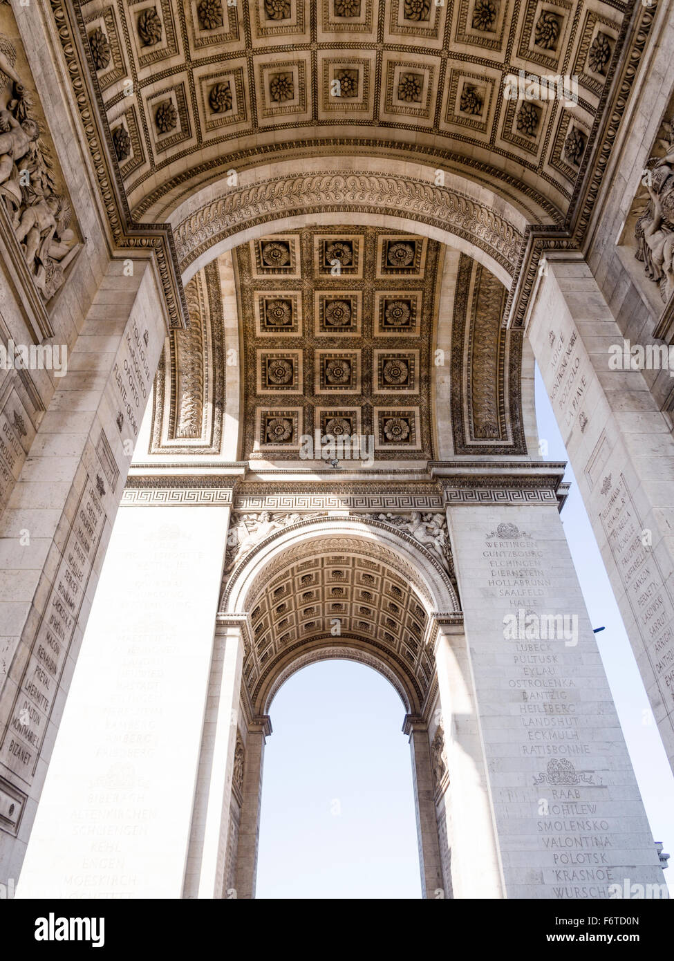Under the Arch. The detailed decorative work under the Arc de Triomphe in Paris. - Stock Image