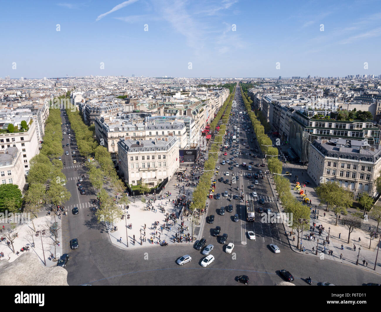 Avenue des Champs-Elysees & Friedland. The Champs-Elysses and Avenue de Friedland from the Arc de Triomphe - Stock Image