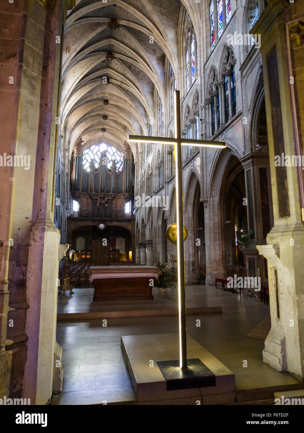 Golden Cross at the Front of St Severin Church Paris. The view from behind the altar at this historic church in - Stock Image