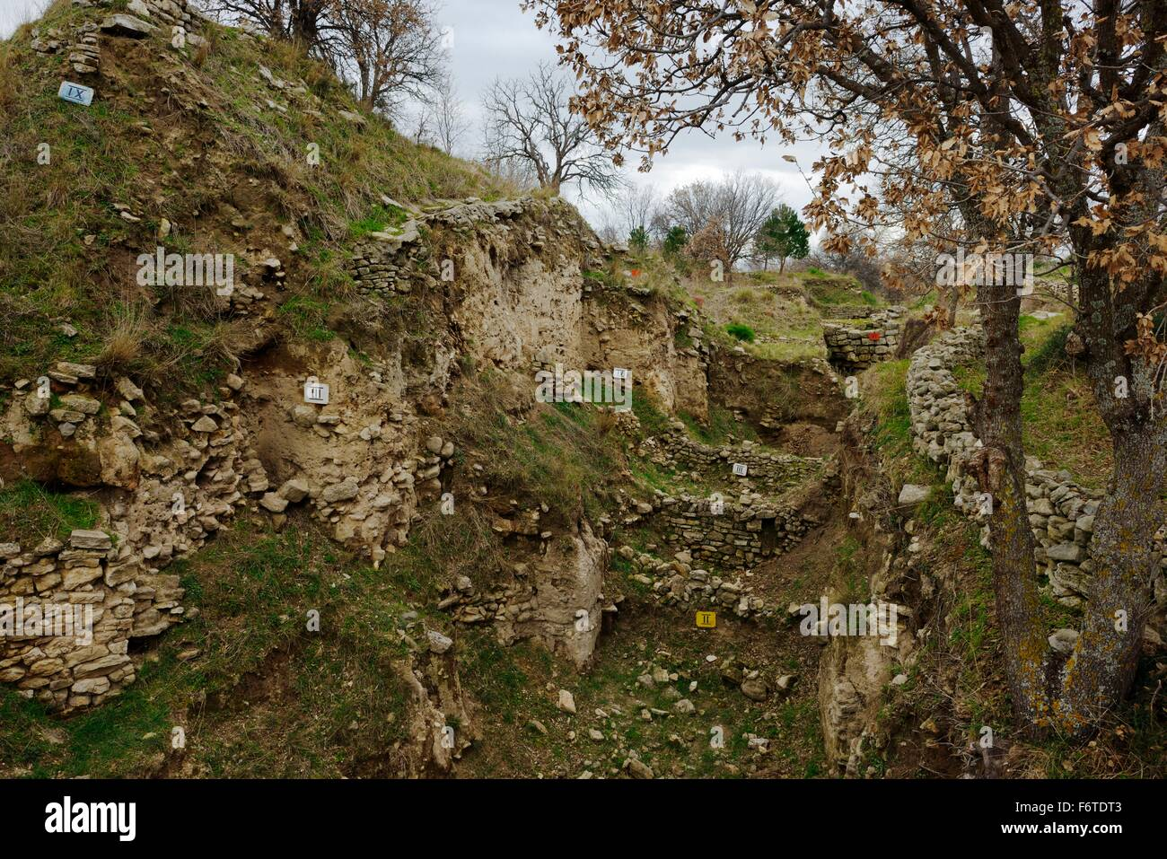 Troy, Anatolia, Turkey. Labelled exposed sections of the ancient ruins showing habitation levels I to IX dating - Stock Image