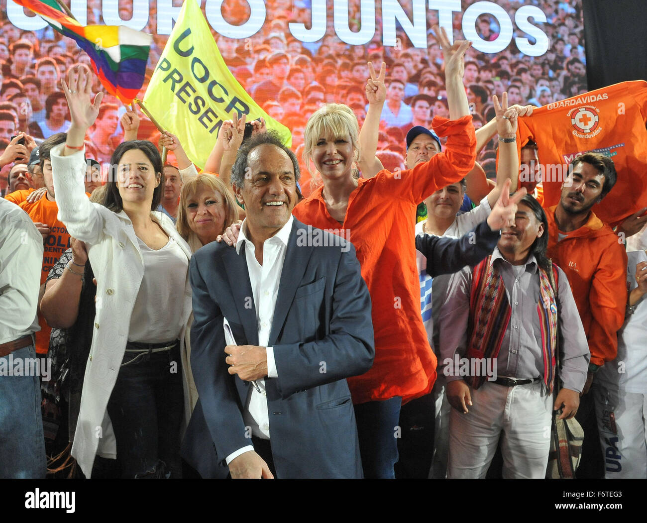 Mar Del Plata. 19th Nov, 2015. Daniel Scioli (C), presidential candidate of Argentina's ruling Front for Victory - Stock Image
