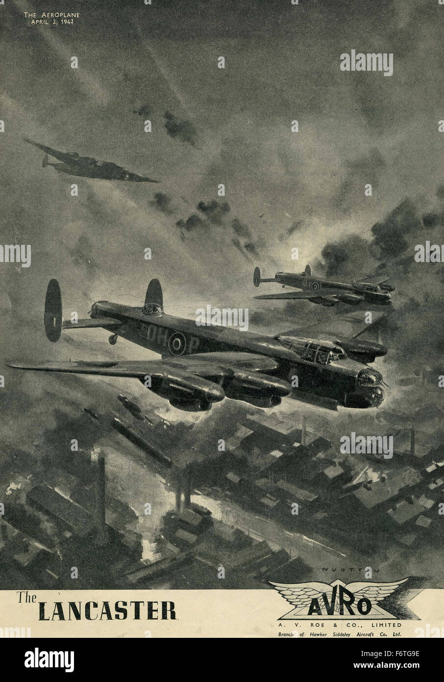 Lancaster Avro bomber WW2 1943 advert - Stock Image