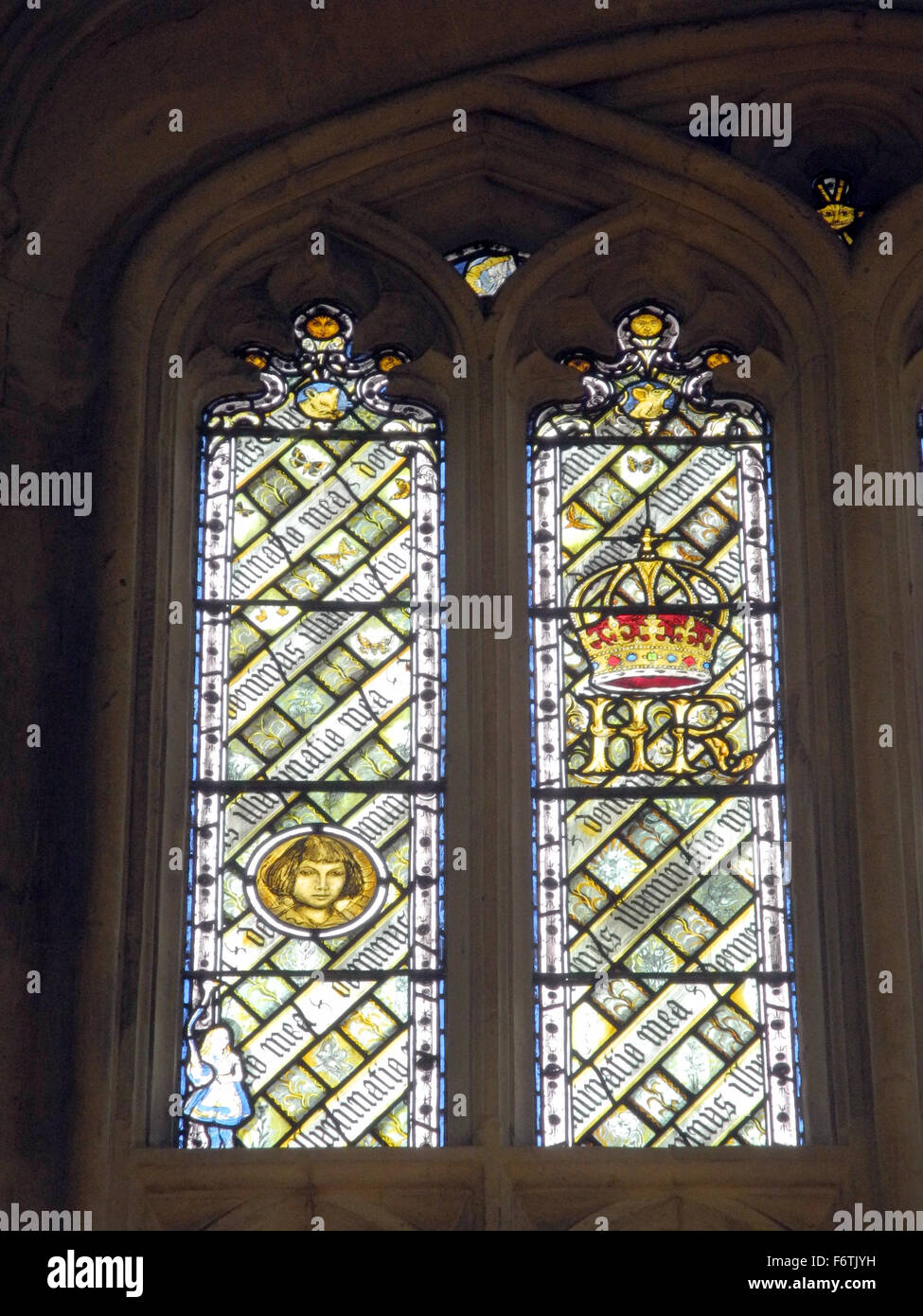 Oxford, Britain. 21st Oct, 2015. Windows consisting of multiple components featuring various motifs from 'Alice - Stock Image