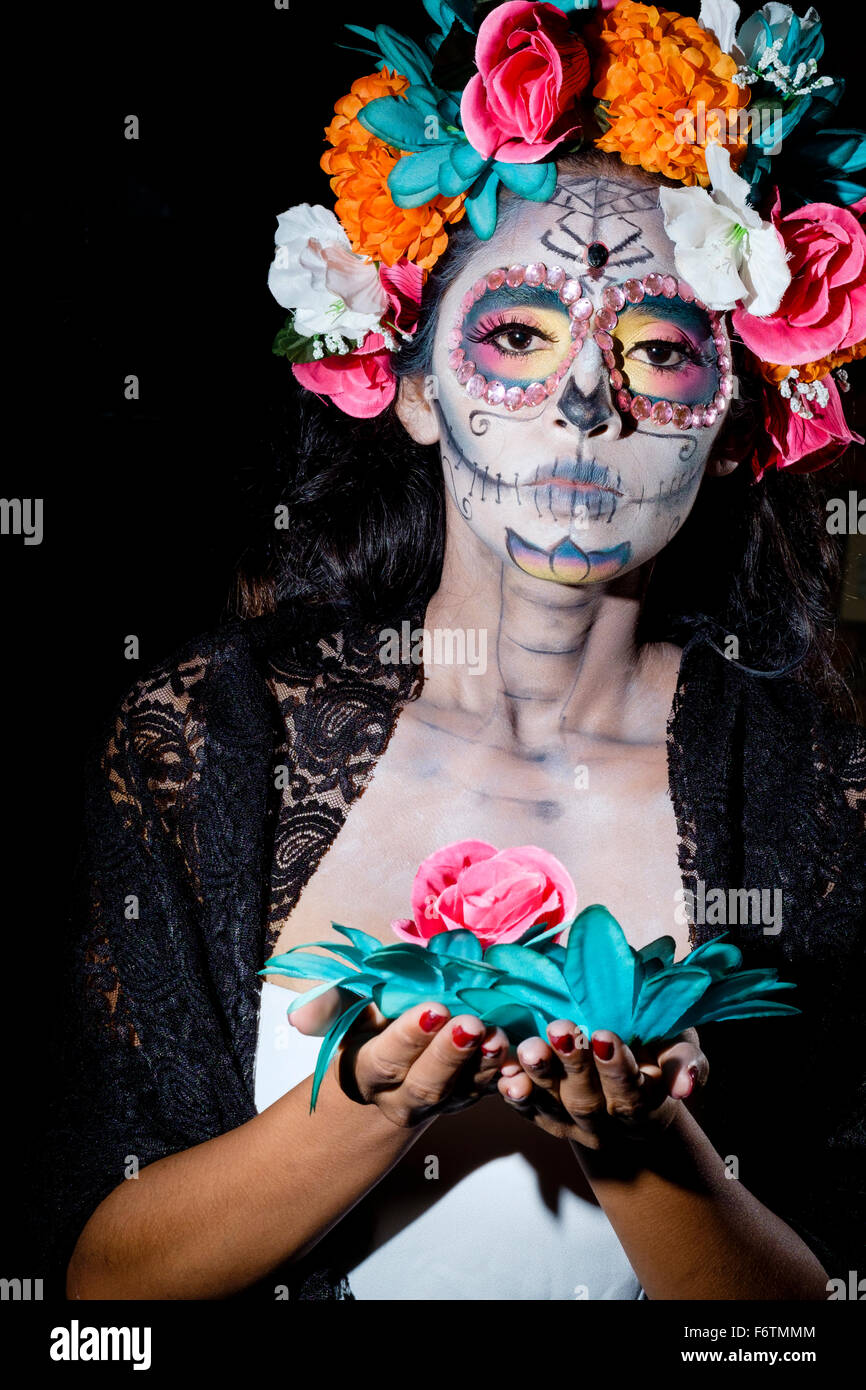 Woman Dressed As La Calavera Catrina Traditional Mexican