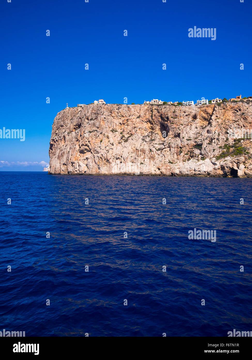 Spain, Mallorca, Cliff coast near Cap de sa Mola - Stock Image