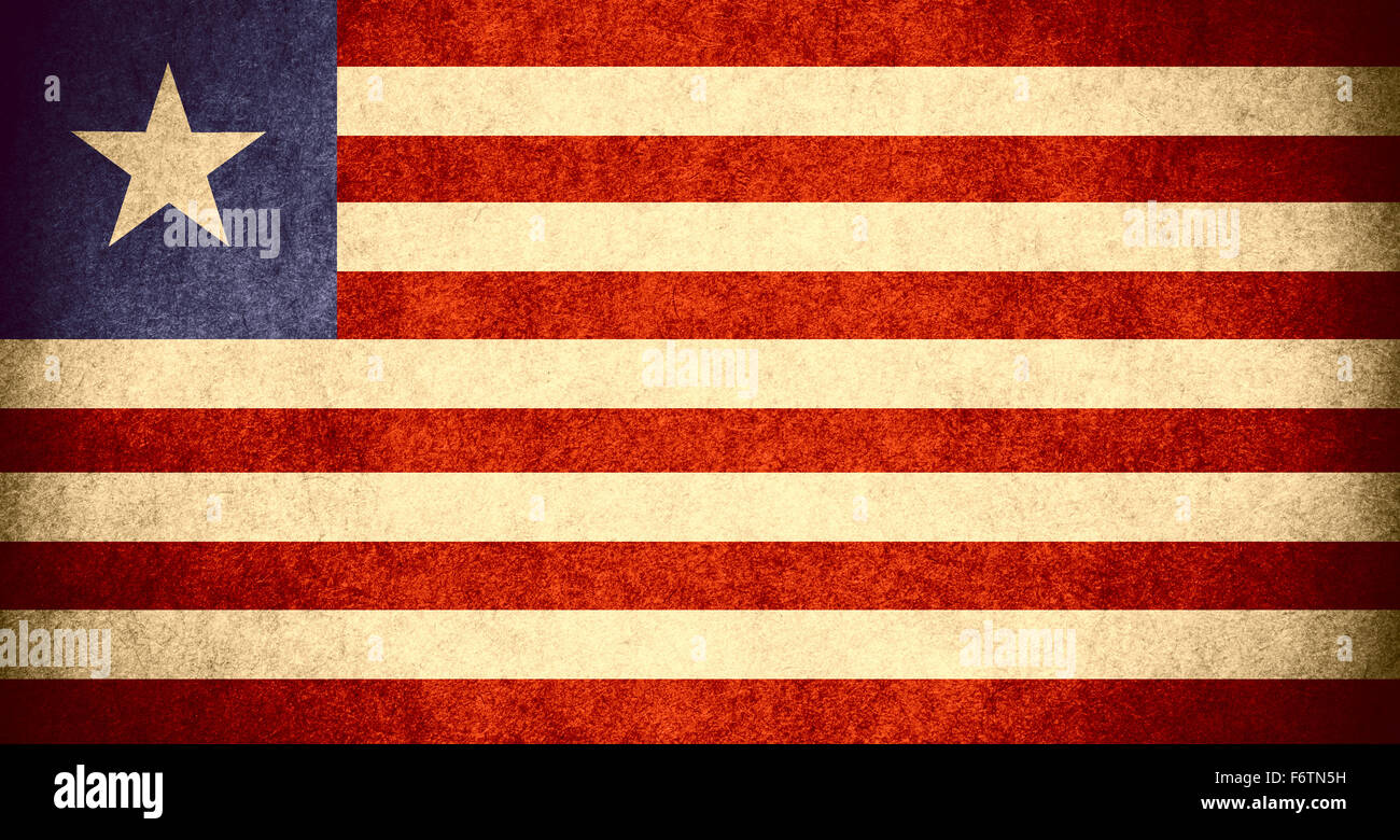 flag of Liberia or Liberian banner on paper rough pattern vintage texture - Stock Image