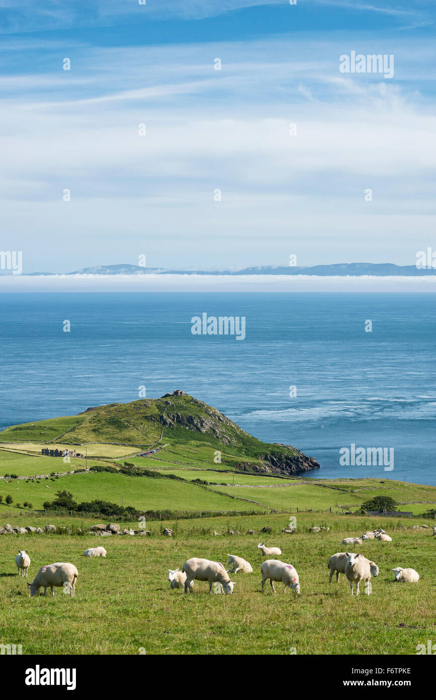 Northern Ireland, County Antrim, View from Torr Head to scotish coast Stock Photo