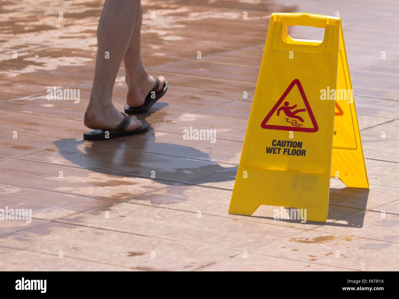Wet floor sign - Stock Image