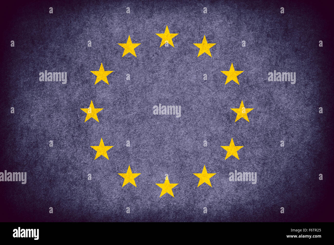 flag of European Union or Europe banner on paper rough pattern vintage texture - Stock Image