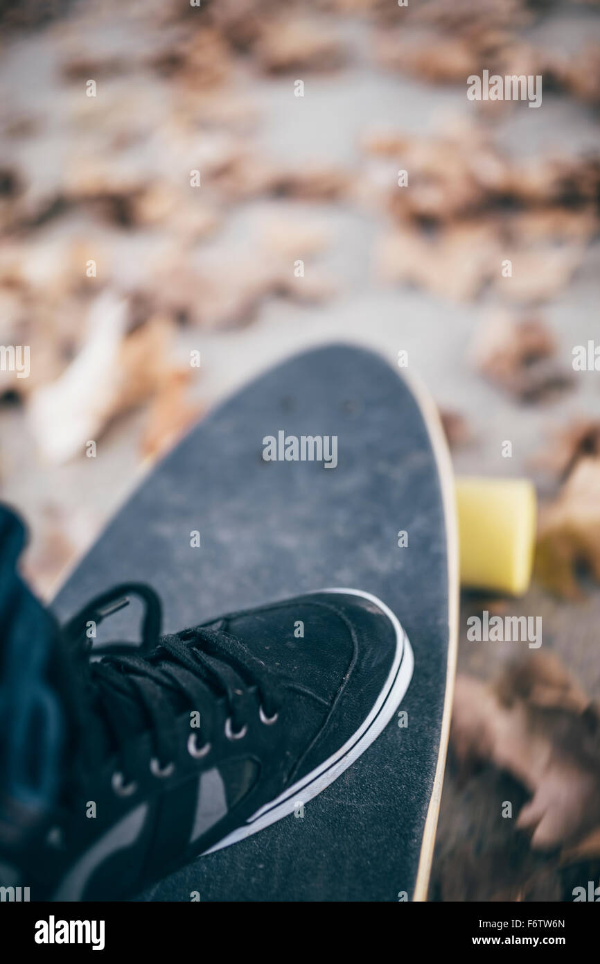 Man's black sneaker on longboard, close-up - Stock Image