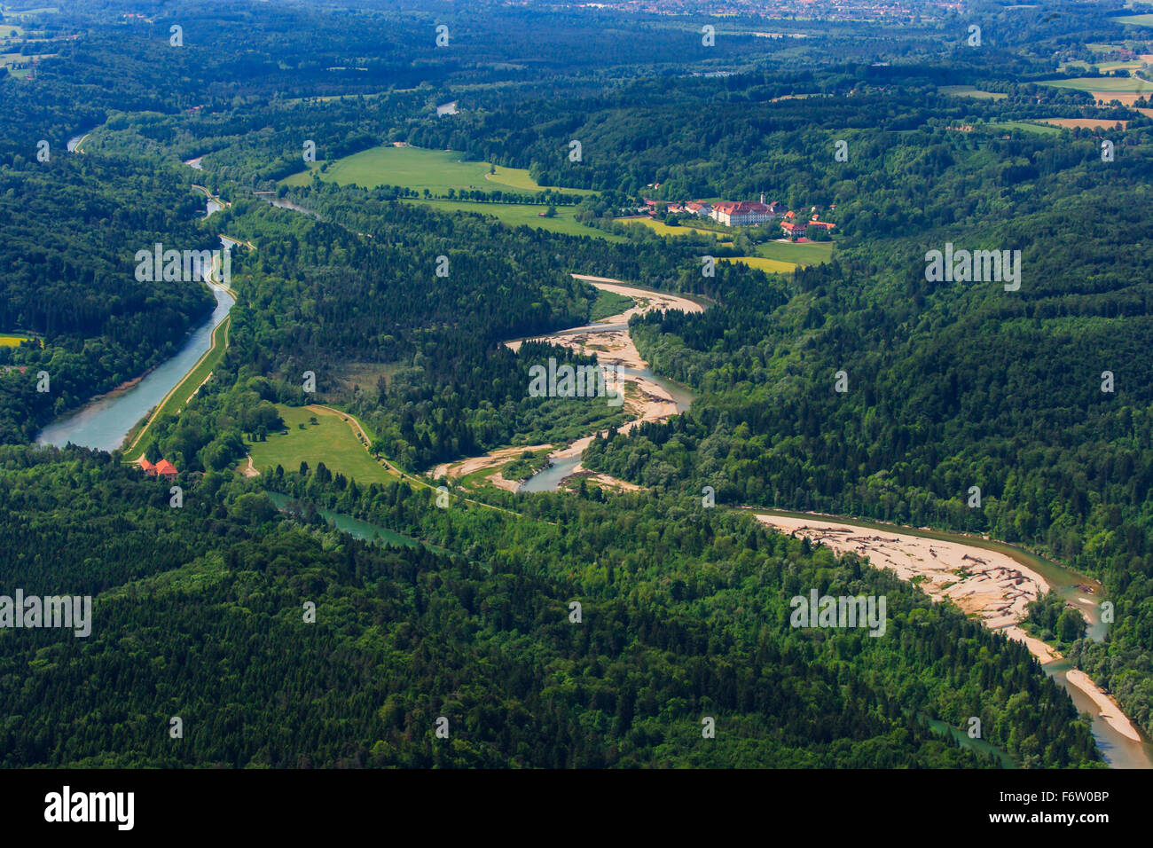 Germany, Bavaria, Aerial view of Pupplinger Au near Wolfratshausen and Schaftlarn monastery at Isar river - Stock Image