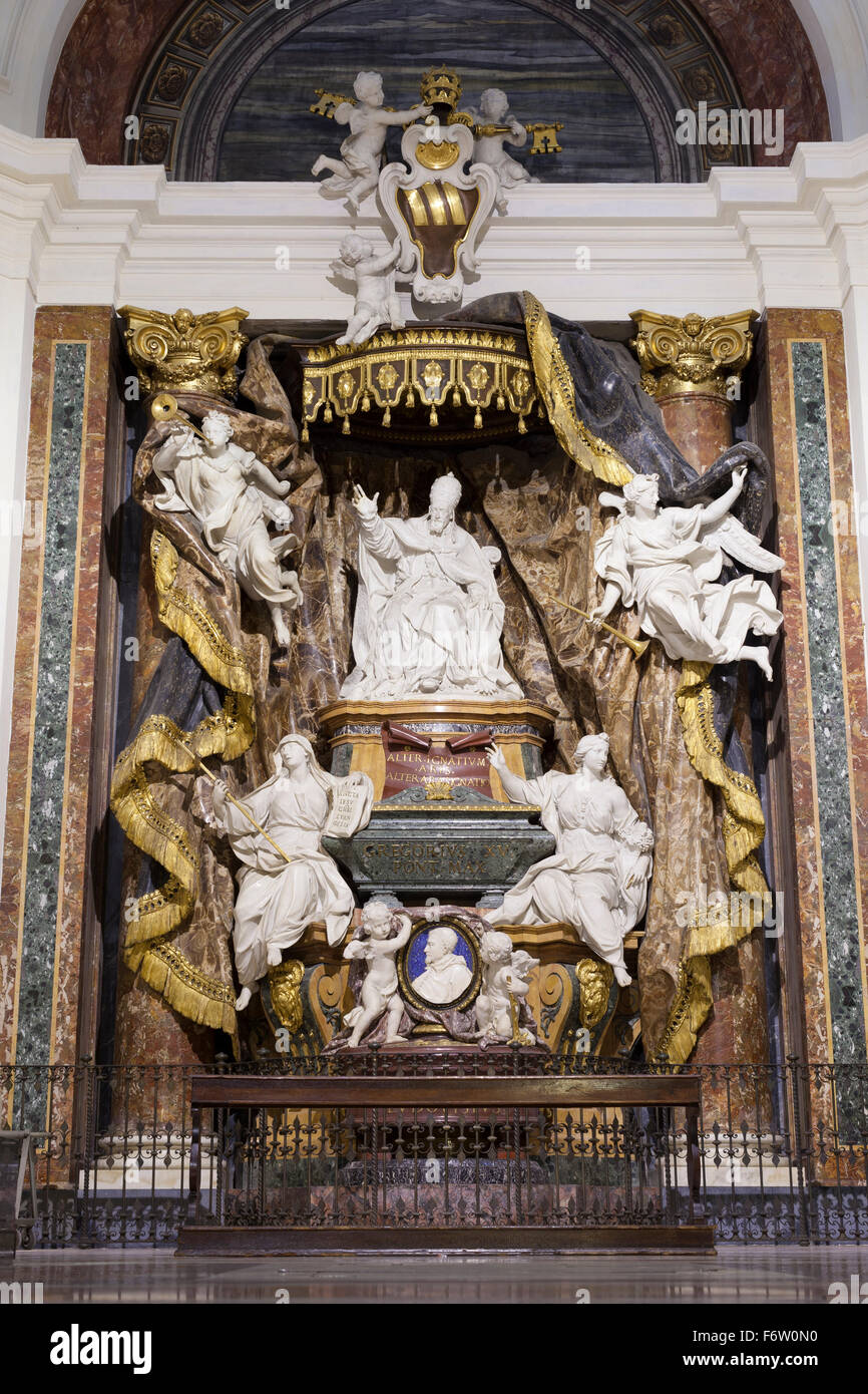 Tomb of pope Gregorius XV, Pierre Legros, church of St. Ignatius of Loyola, chiesa di Sant'Ignazio di Loyola, - Stock Image