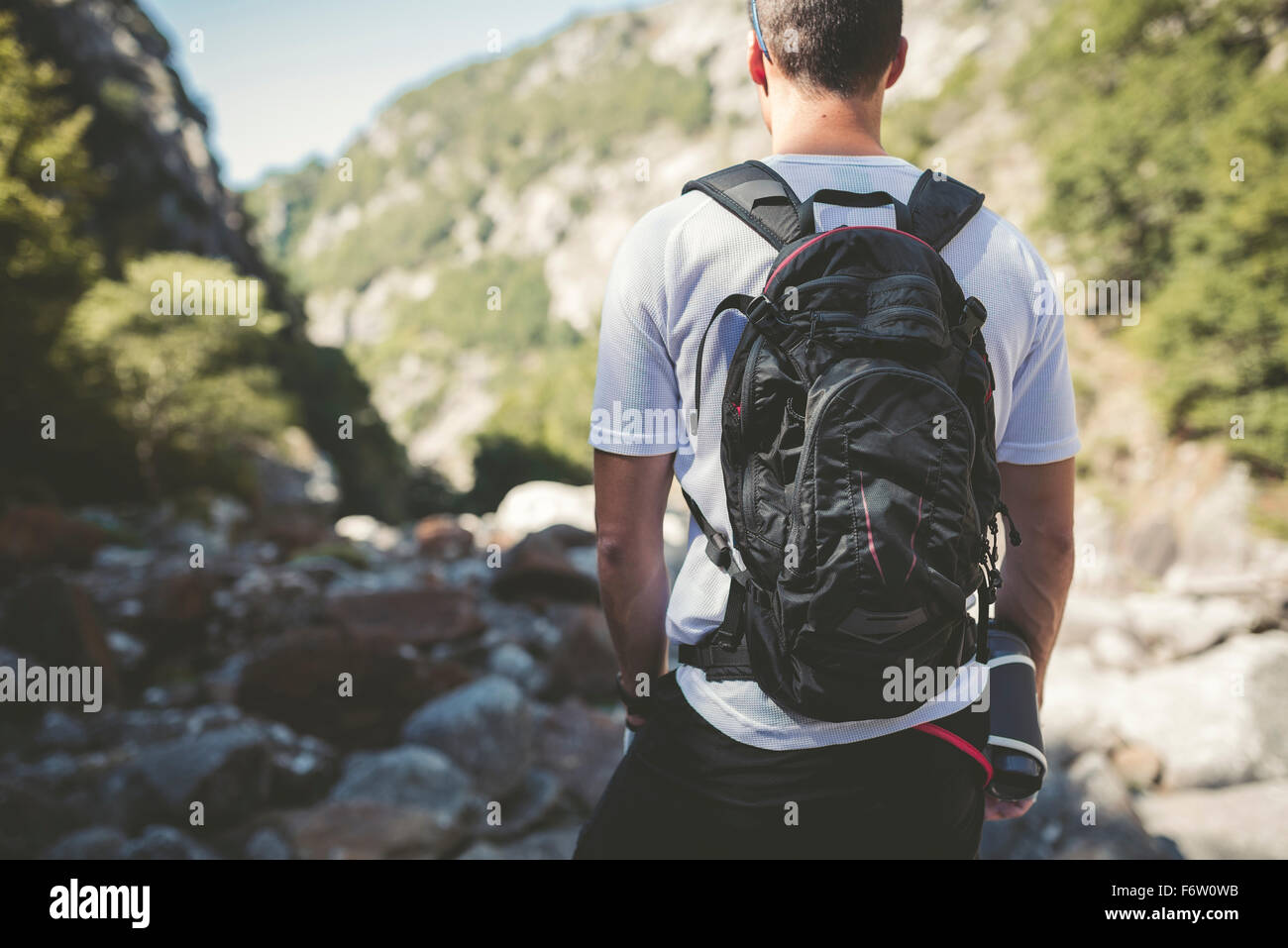 Ultra runner in mountains carrying backpack, looking at view - Stock Image