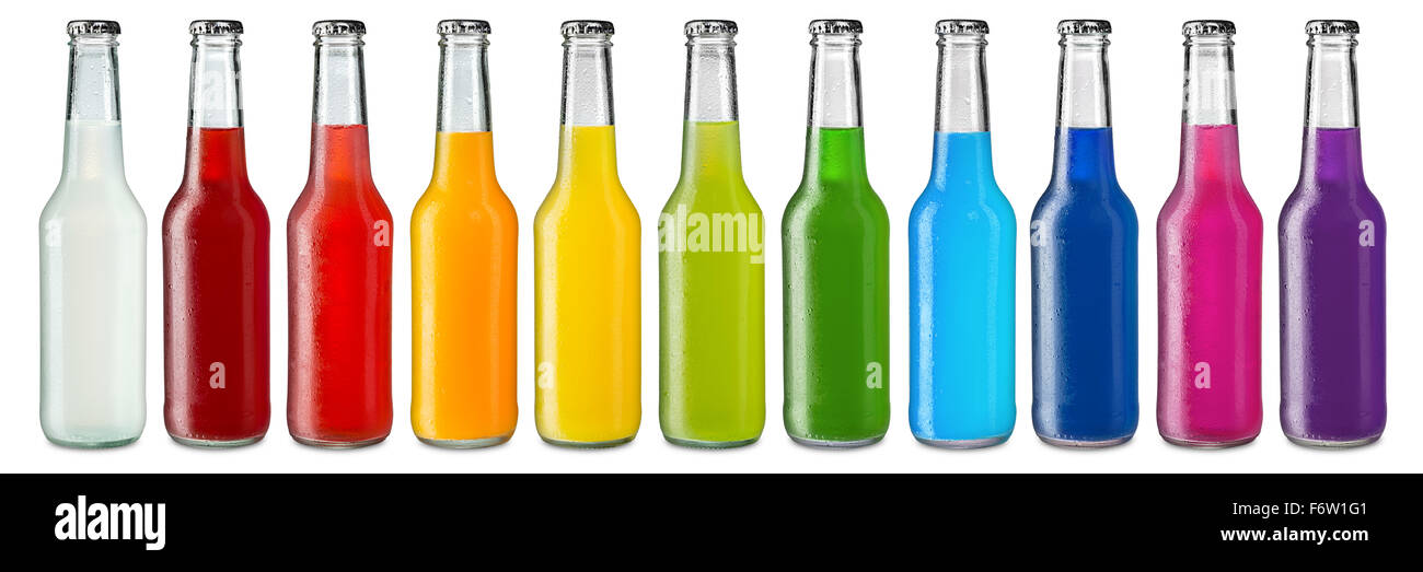 row of ice cold colorful soft drinks - Stock Image