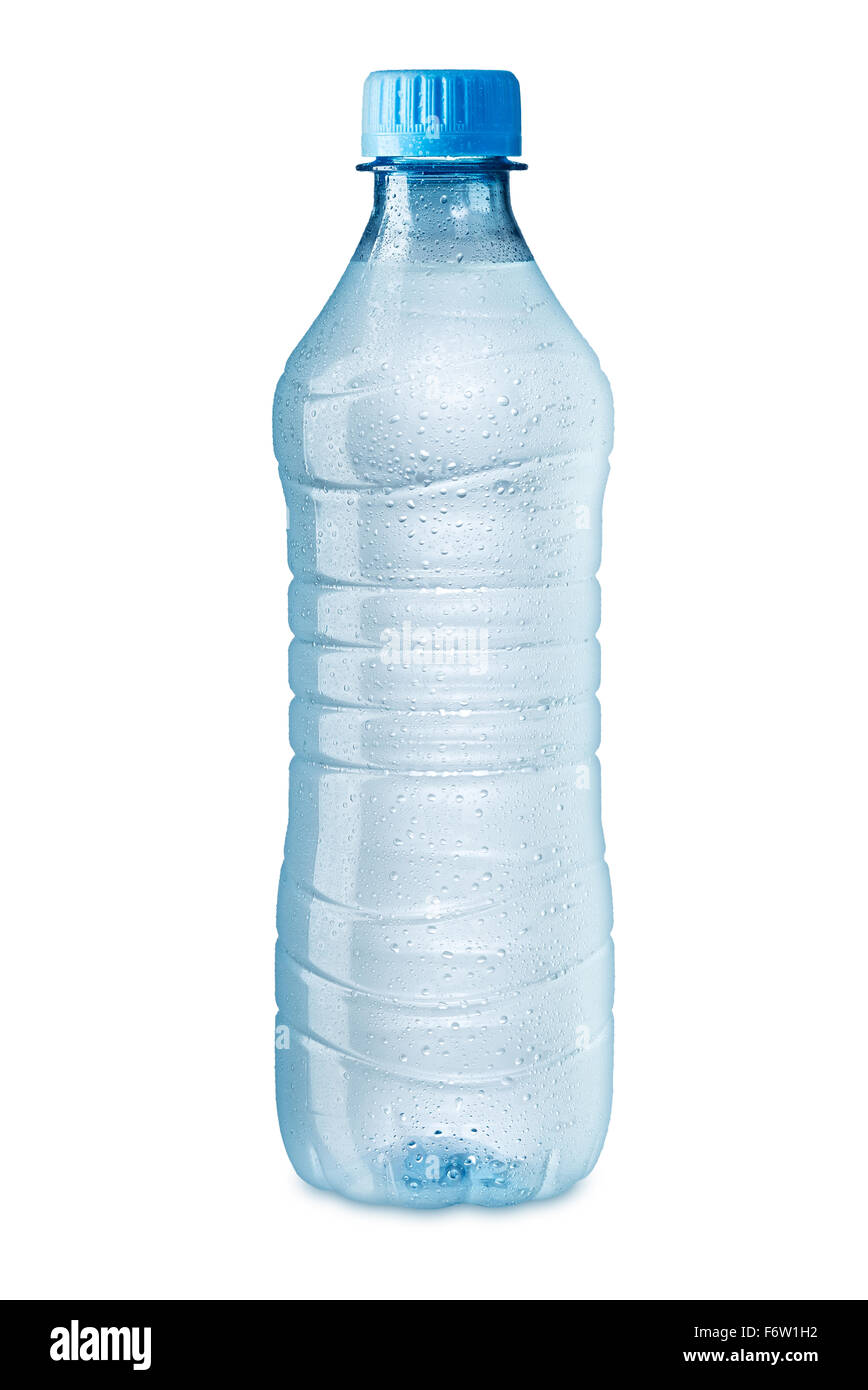 ice cold water bottle on white background - Stock Image