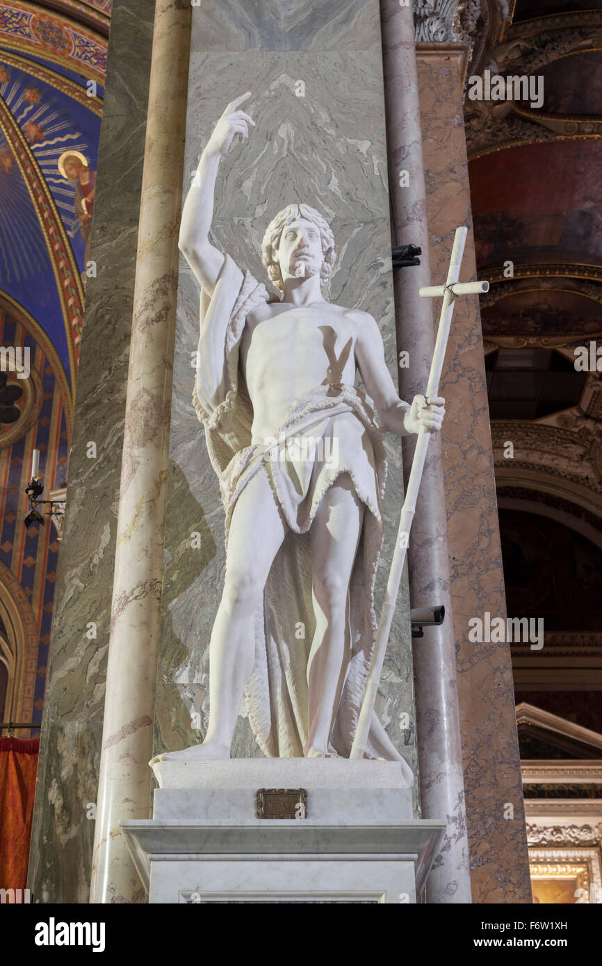 Statue of St. John the Baptist, Giovanni Obici, basilica of Saint Mary above Minerva, Santa Maria sopra Minerva, Stock Photo