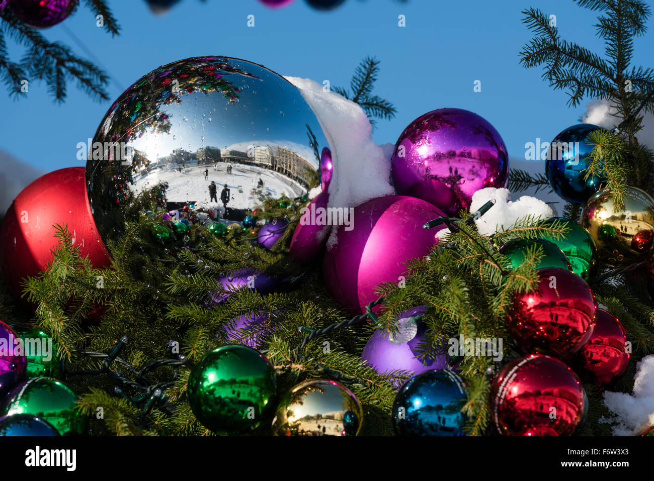 colourful christmas ball ornaments on a giant christmas tree on saechselaeutenplatz outside zurich opera house - Large Christmas Ball Ornaments