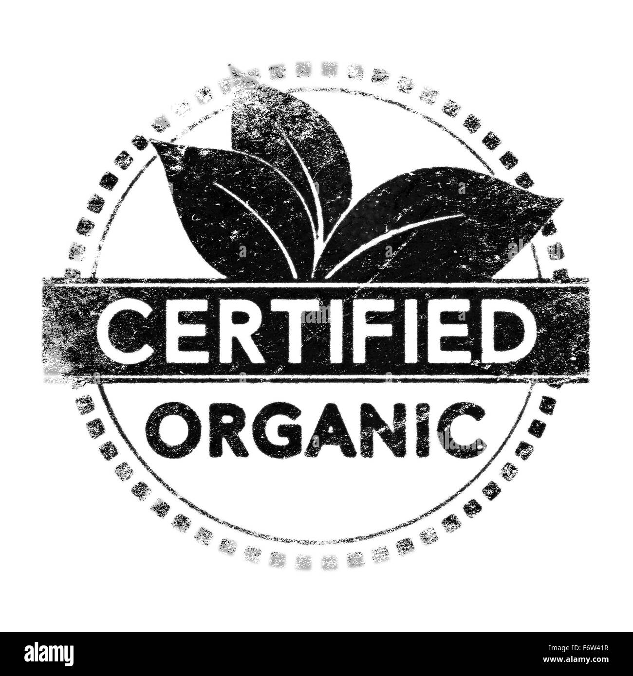 Realistic organic certified label, black silhouette over white for mask use - Stock Image