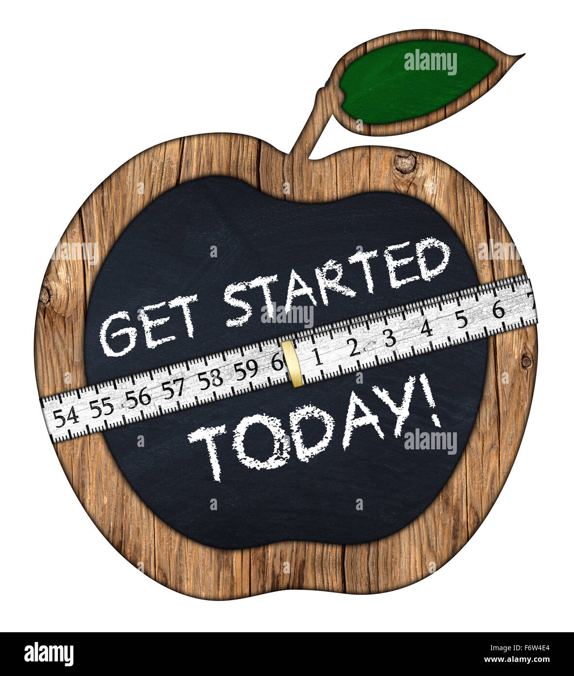 get started today apple blackboard with measuring tape - Stock Image