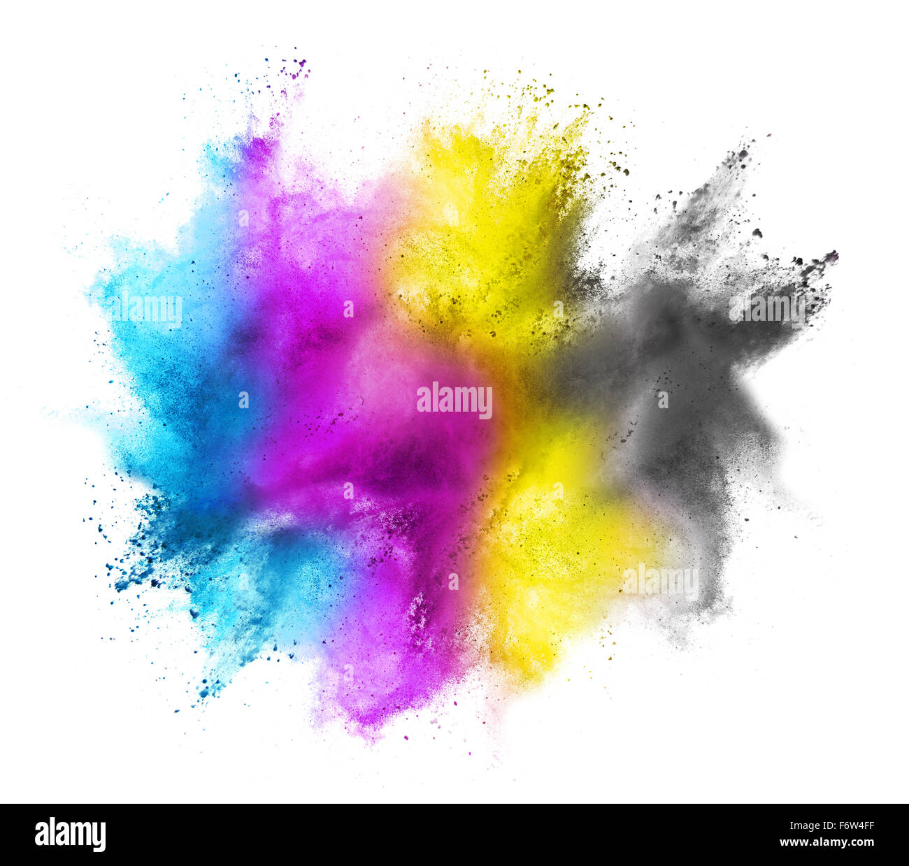CMYK colored dust cloud on white background - Stock Image