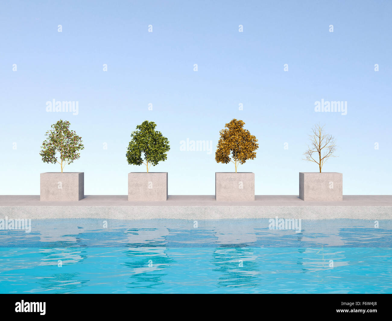 3D Rendering, four season on bases, swimming pool - Stock Image