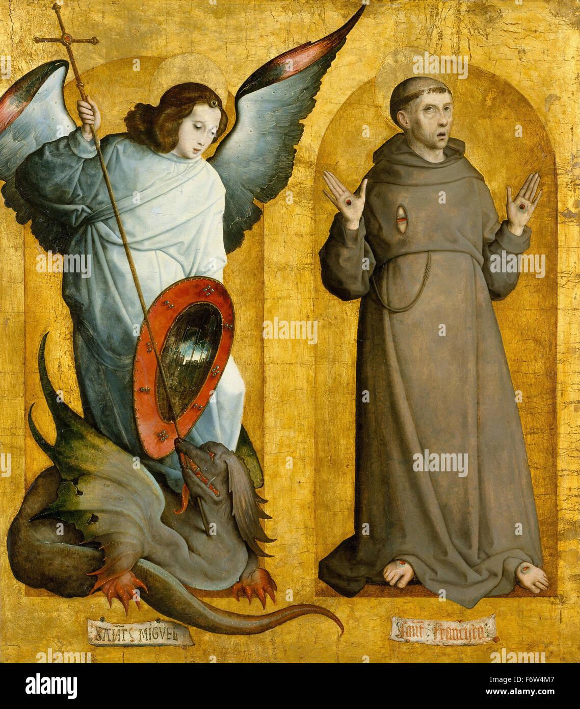 Juan de Flandes - Saints Michael and Francis - Stock Image