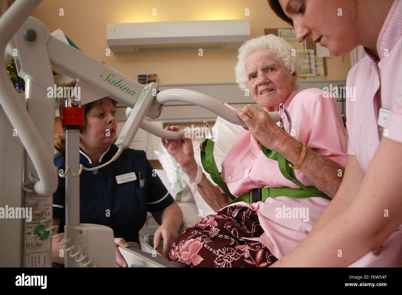 Nurse with disability and health care worker transferring elderly patient; who is nonweight bearing; using Sabina - Stock Image