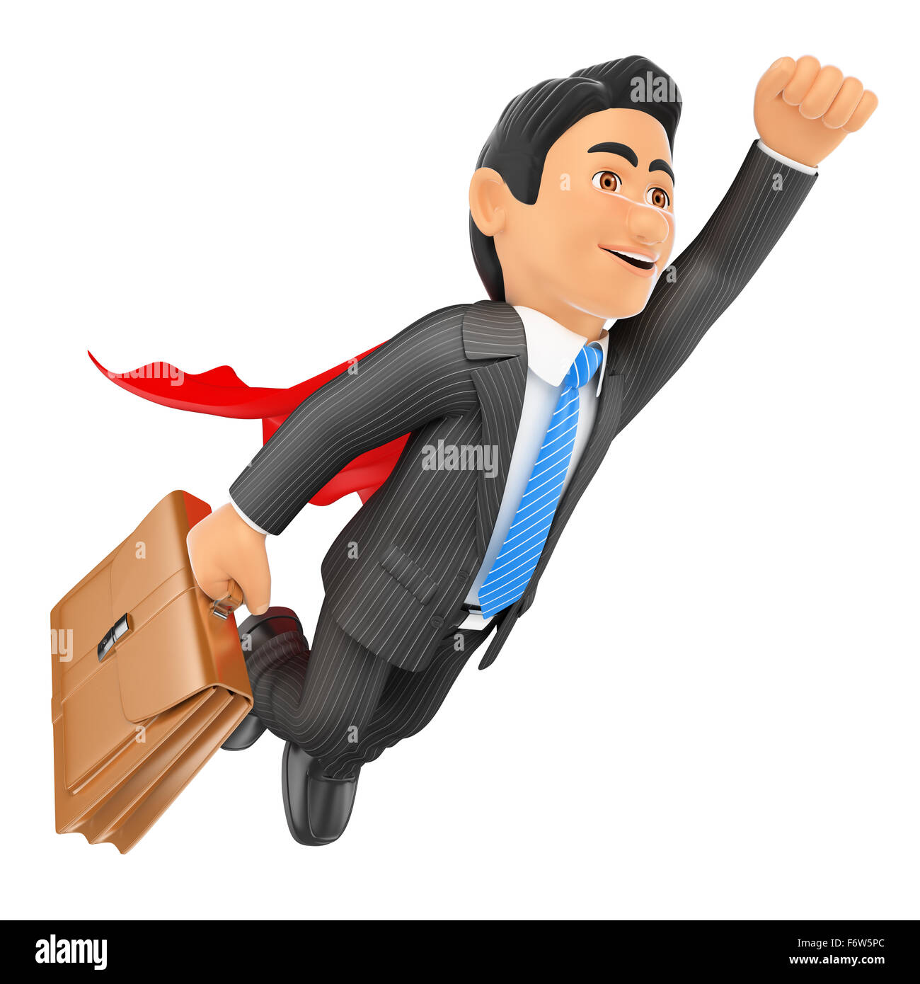 3d business people. Super businessman flying with cape and briefcase. Isolated white background. - Stock Image