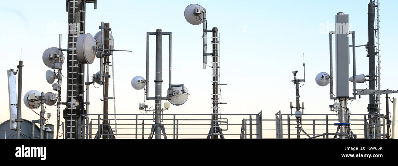 Many Mobile phone Masts and transmission towers - Stock Image