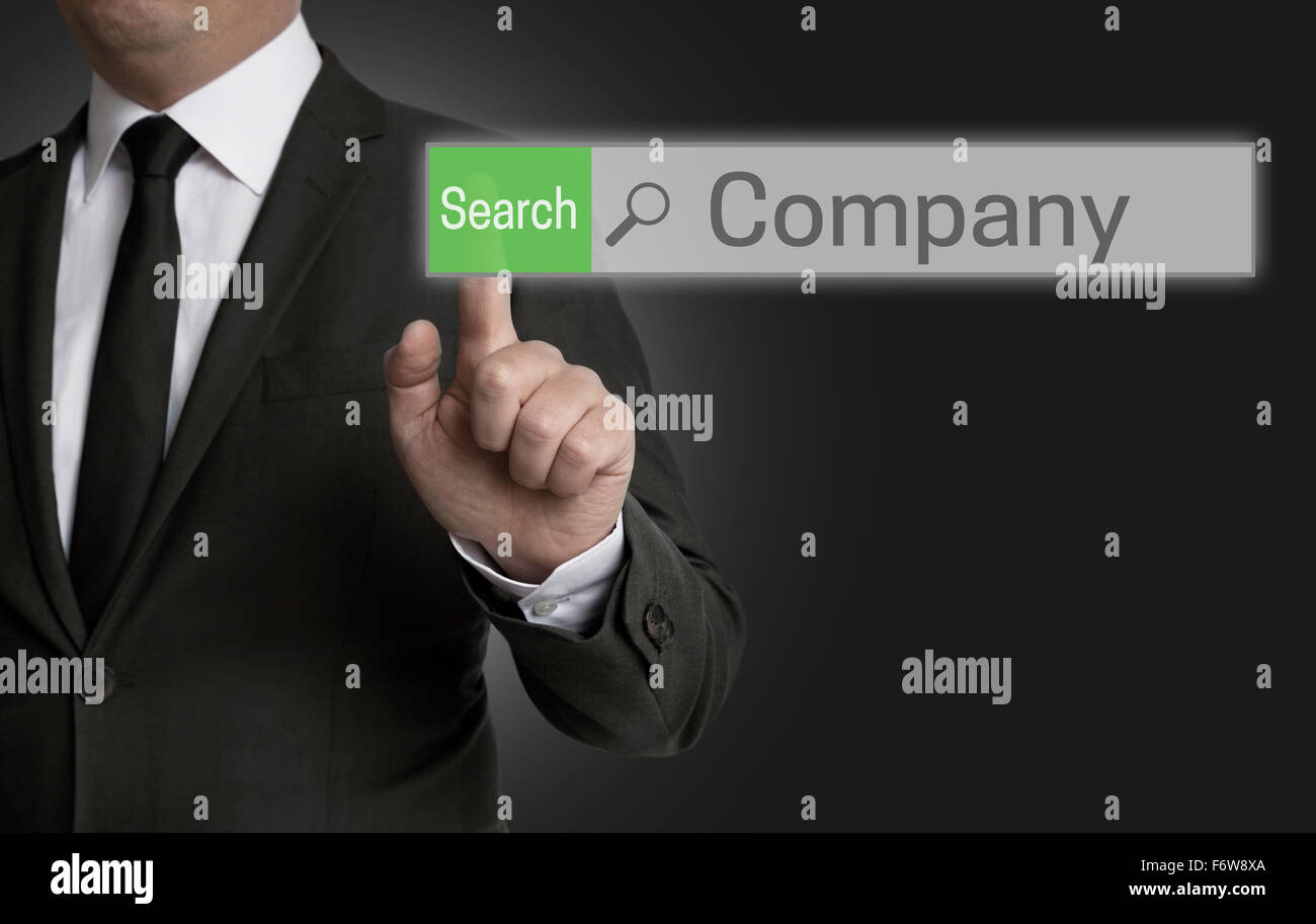 Company browser is operated by businessman concept. - Stock Image