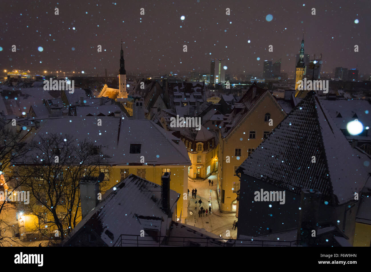 Old Town at Night in Snow fall from Kohtuotsa Platfrorm - Stock Image
